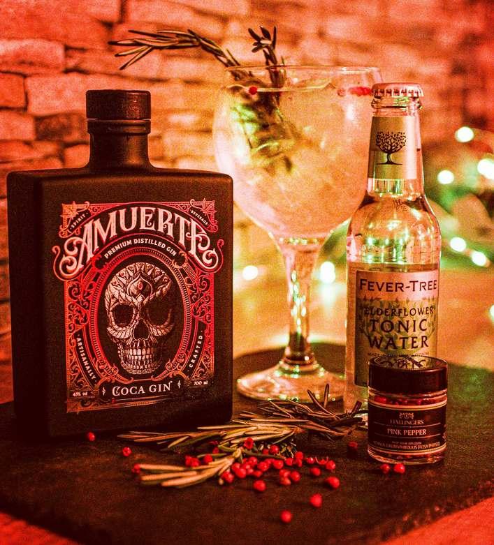 Amuerte Gin Flasche mit Fever Tree Tonic auf Schieferplatte